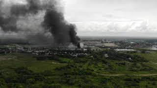 Пожар на ТЭЦ-27 в Мытищах с квадрика