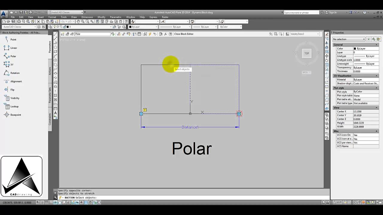 Autocad Dynamic block Polar