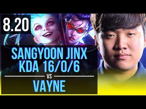 Sangyoon - JINX & Thresh Vs VAYNE & Effort - Alistar (ADC) | KDA 16/0/6 | Korea Challenger | V8.20
