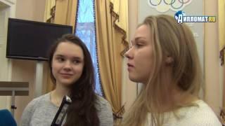 Чествование призеров чемпионата Европы по шорт-треку Софьи Просвирновой и Екатерины Константиновой