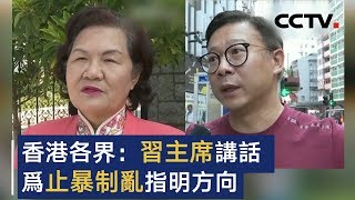 香港各界:习主席讲话为止暴制乱指明方向   CCTV