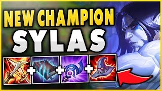 NEW CHAMPION SYLAS IS 100% WAY TOO STRONG!!! HUGE DAMAGE, HEALING AND SHIELDS?!? - League of Legends