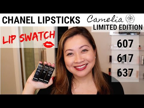 CHANEL LIPSTICKS CAMELIA LIMITED EDITION | LIP SWATCH | 607 METAL – 617 GRENAT – 637 POURPRE