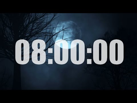8 Hour Timer Countdown - Night Sounds (Crickets and more) with 10 seconds alarm