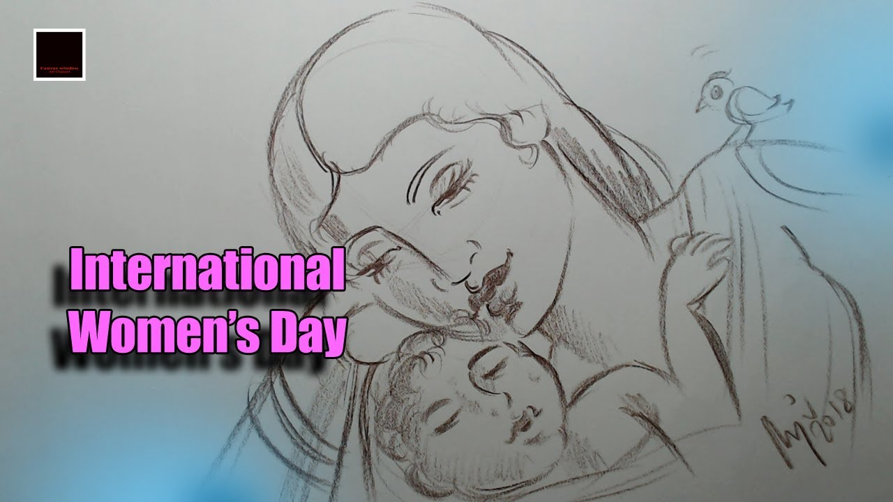 Line Drawing Of Child S Face : International women s day youtube