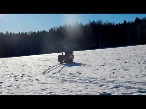 Benycargo tříkolka jízda ve sněhu
