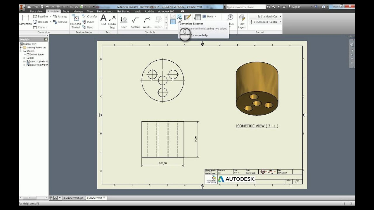 Creating technical drawings in autodesk inventor 2014 tutorial youtube malvernweather Images