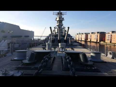Walking on the deck of the USS Wisconsin