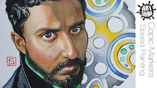 Copic Markers Portrait Time Lapse Speed Drawing / Портрет Маркерами Copic