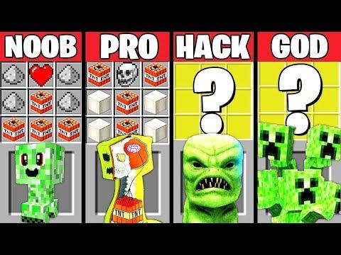 Minecraft Battle: CREEPER EVOLUTION CRAFTING CHALLENGE – NOOB vs PRO vs HACKER vs GOD ~ Animation