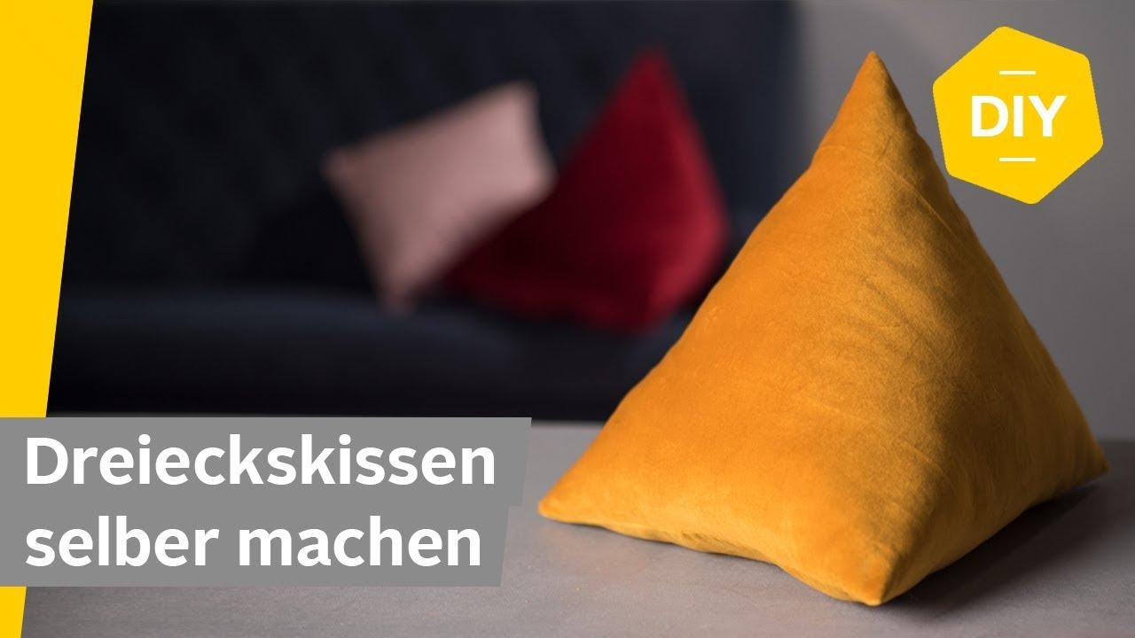 diy kissen aus samt n hen in dreiecksform roombeez powered by otto youtube. Black Bedroom Furniture Sets. Home Design Ideas