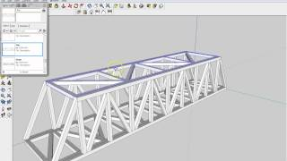 Google Sketchup tutorial of the entire assembly of the balsa bridge using components.