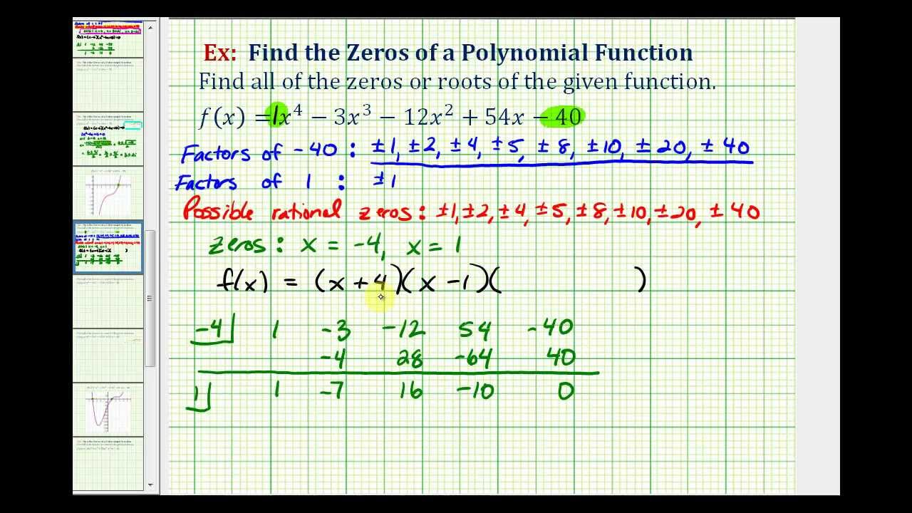 Ex 6: Find The Zeros Of A Degree 4 Polynomial Function