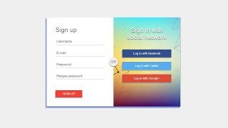 How To Create Signup Form In HTML And CSS | Registration From | Social Login