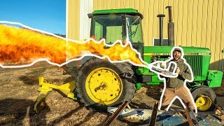 Using a FLAMETHROWER to BURN My FARM DOWN!!! (1,000 ACRES)