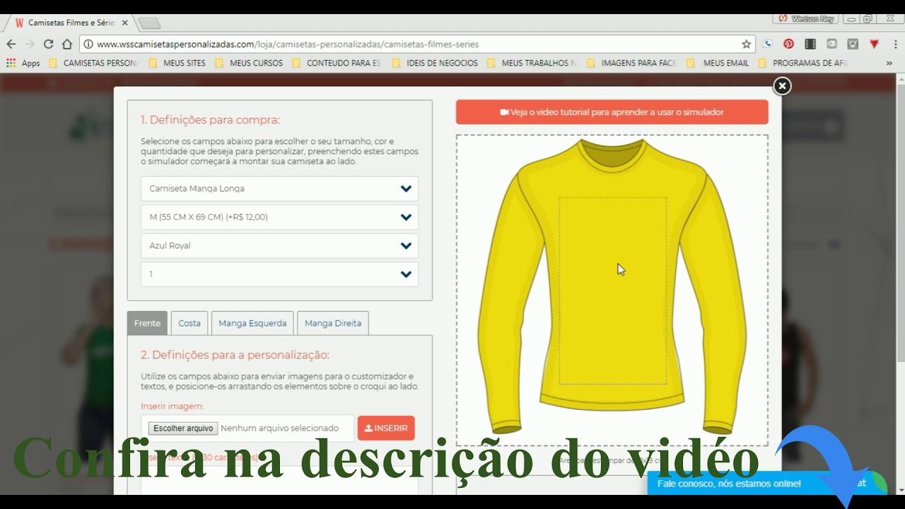 Como Criar Camisetas Personalizadas Online   tutorial  - YouTube fe601e4c6f0