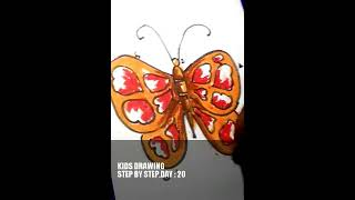 how to  draw butterfly ? Easy steps , day - 20