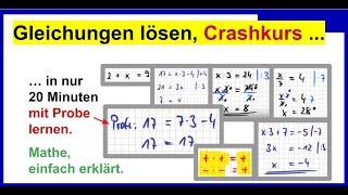 07 2014_08_28 Gleichungen lösen, Klasse7 Teil1, einfache Gleichungen, um das Prinzip zu lernen