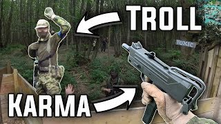 Airsoft Troll Gets Instant Karma (FULL AUTO)