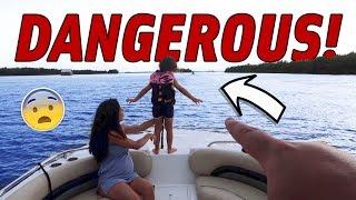 PENELOPE PULLS A DANGEROUS STUNT ON THE BOAT!!! (40 MPH)
