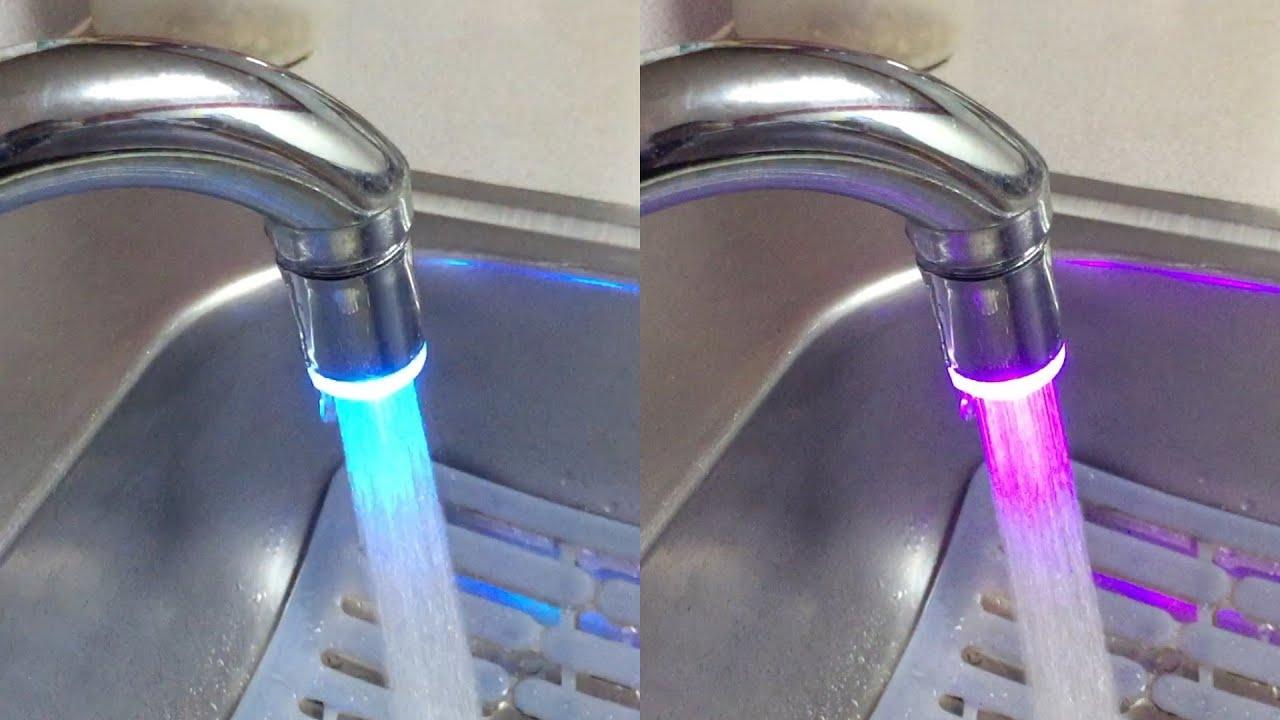 dealpeak 7 colors led lights tap faucet for kitchen and bathroom