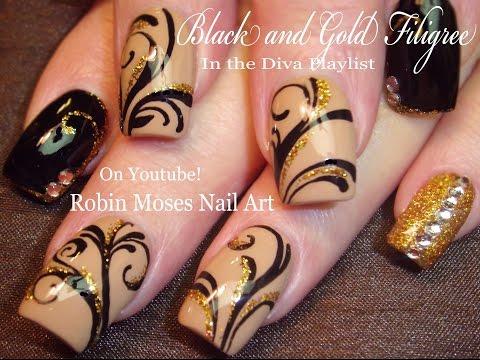 Black and Gold Glitter Nails Design | Bling Filigree Nail Art Tutorial
