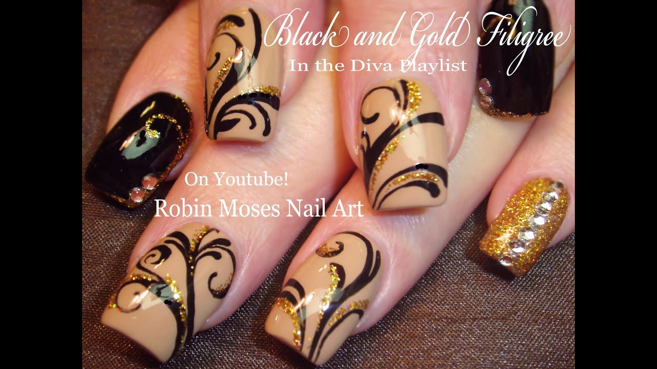 Black and Gold Glitter Nails Design | Bling Filigree Nail Art ...
