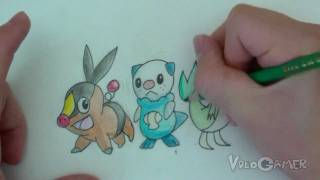 How to Draw Oshawott, Snivy, Tepig (Pokemon Black and White)