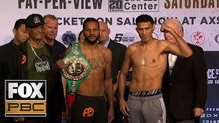 Anthony Dirrell, David Benavidez make weight ahead of their title fight | WEIGH-INS | PBC ON FOX