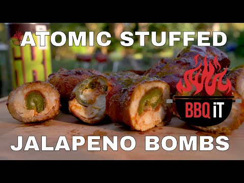 ATOMIC ELEPHANT BOMBS – SMOKED ON THE WEBER – STUFFED JALAPENOS WRAPPED IN CHICKEN AND BACON!| BBQiT