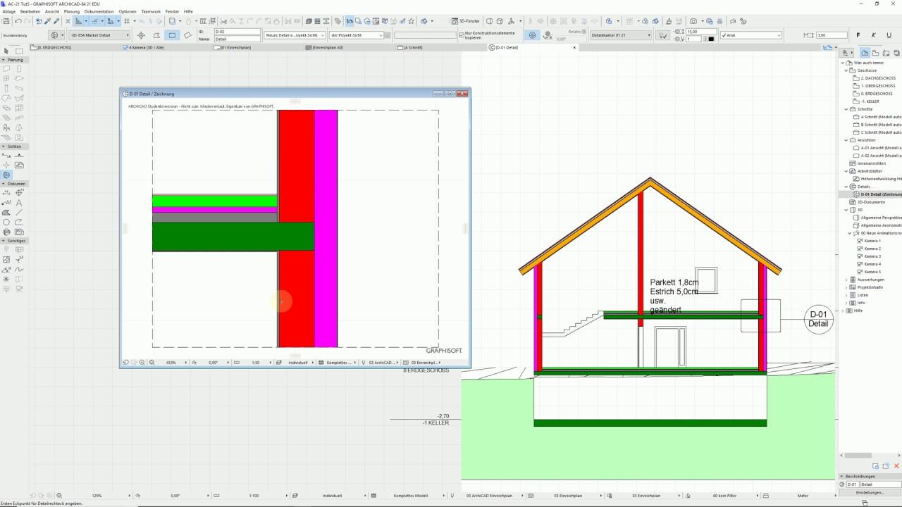 Archicad21 Tutorial Arbeitsblatt und Detailwerkzeug - YouTube