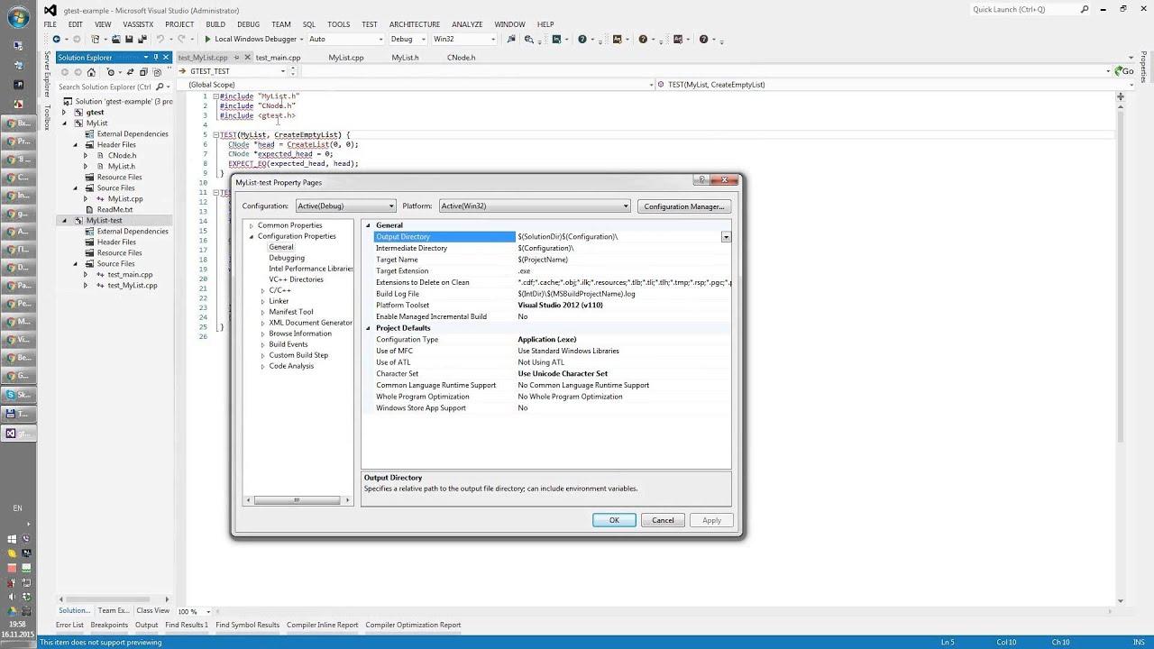 Google Test in Visual Studio
