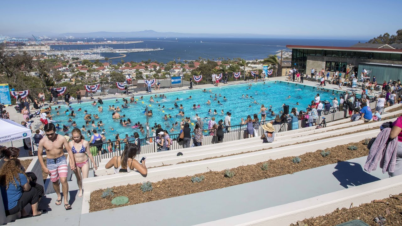 Port Of Los Angeles Supports Hey Rookie Swimming Pool Grand Re Opening Youtube