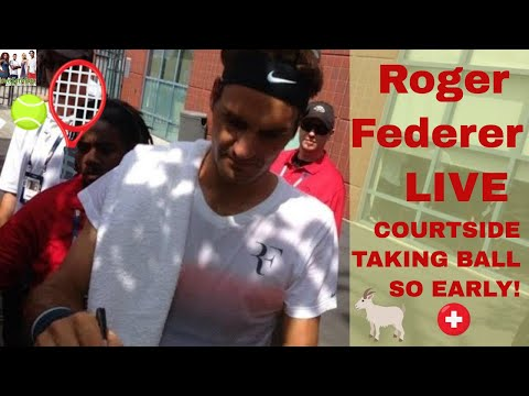 Roger Federer Live playing tennis courtside view taking the ball so early