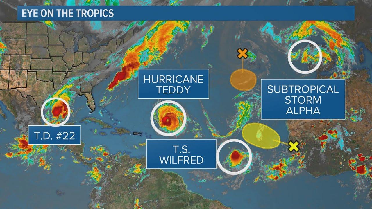 Tropics Update Hurricane Teddy Tropical Storm Wilfred The Greek Alphabet Youtube