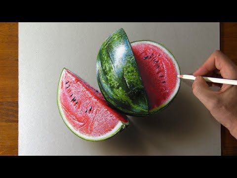 Drawing Watermelon 🍉 so real that you can smell it 👃