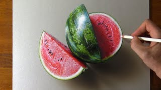 Drawing Watermelon  so real that you can smell it