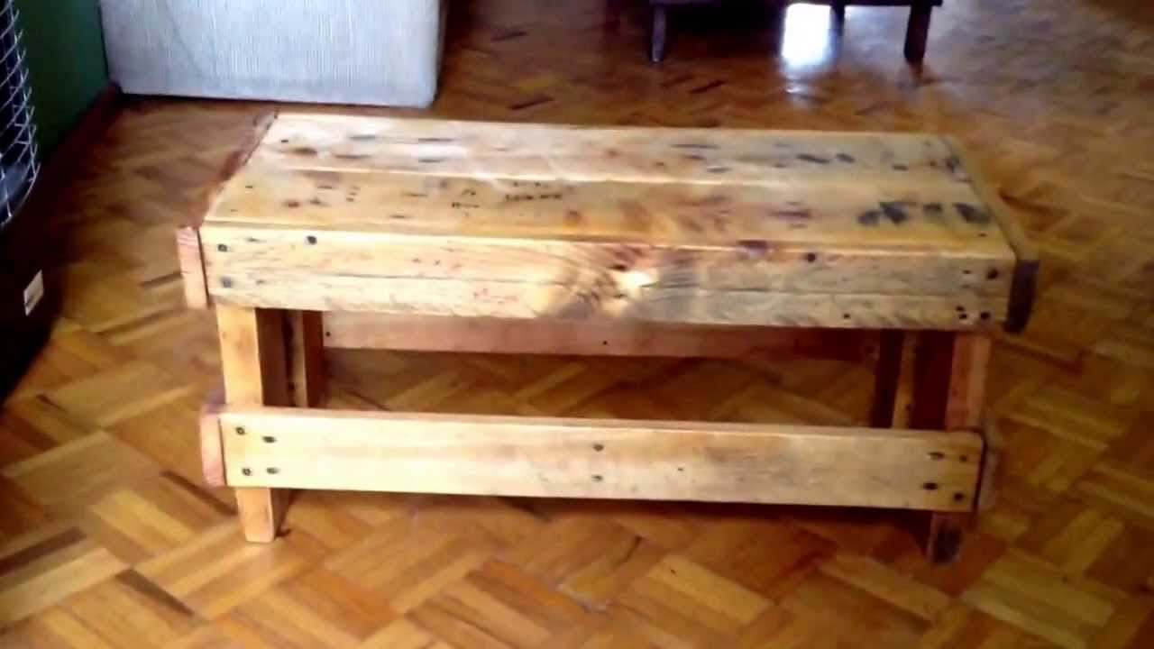 OLD PALLETS PROJECT DIY little BENCH COFFEE TABLE SIDE TABLE
