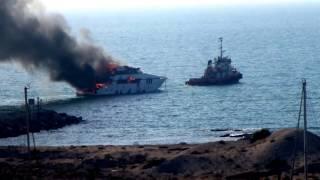 Al hamra Marina Yacht on fire