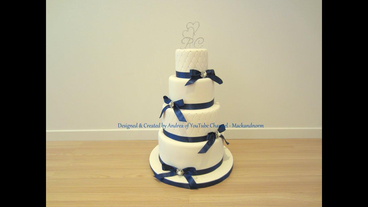 Classic Wedding Cake - 4 Tier Round Wedding Cake - YouTube