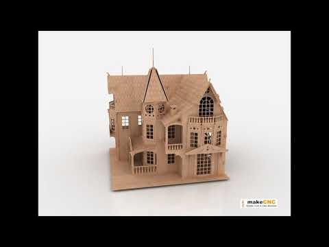 Doll House pattern CNC Router Laser or Scroll saw 3d ...