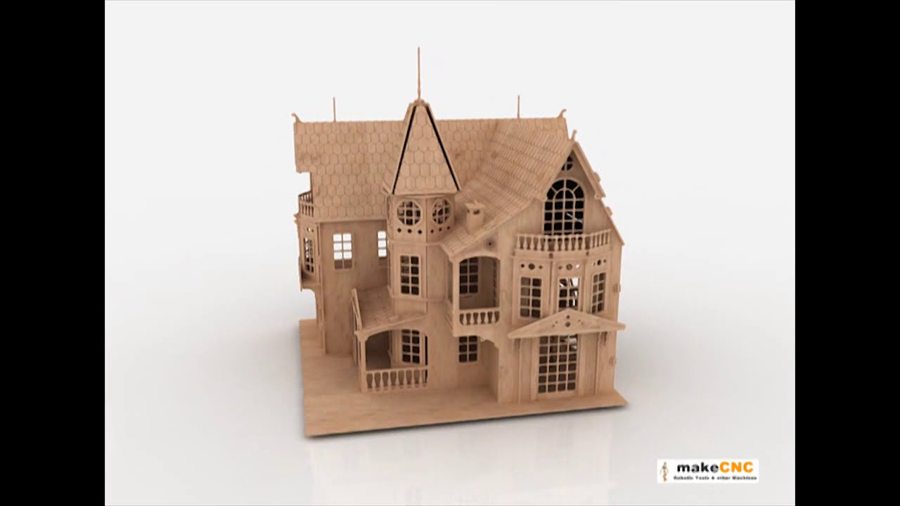 Doll House pattern CNC Router Laser or Scroll saw 3d puzzle