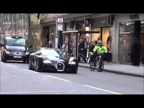 Sikh Man (Indian) Racing a Black Bugatti In London