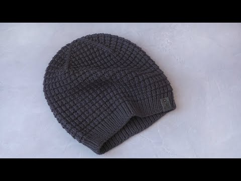 Мужская шапка с помпоном спицами схема с описанием