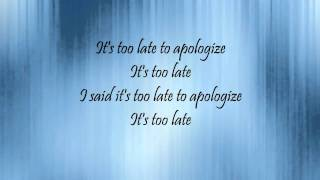 Too Late To Apologize: A Declaration Lyrics