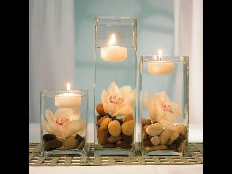 Como hacer centros de mesa con flores y velas youtube - Centros con velas ...