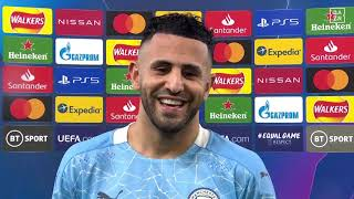 Riyad Mahrez reacts to Manchester City's Champions League semi-final win