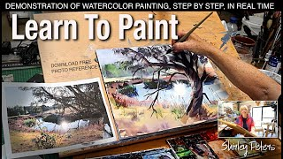 Learn to Paint! Easy Landscape Watercolour Step-by-step Demonstration
