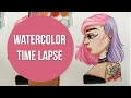 Water Color Painting Time lapse | Purple & Pink Grunge Girl