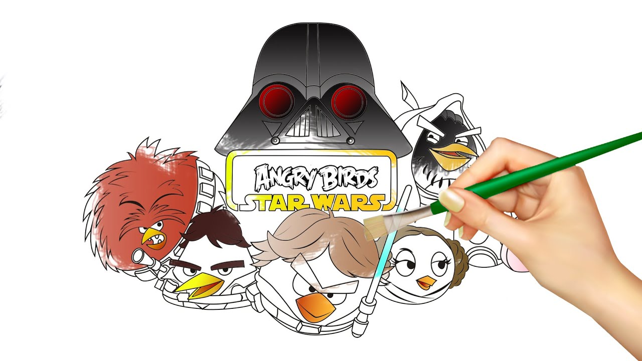 angry birds star wars coloring book youtube - Angry Birds Star Wars Coloring Pages